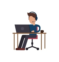 Isolated operator man design vector image
