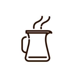 jar hot coffee kitchen preparation line design vector image