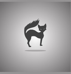 lady-cat silhouette isolated vector image