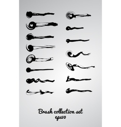 large set of 15 different grunge brush vector image
