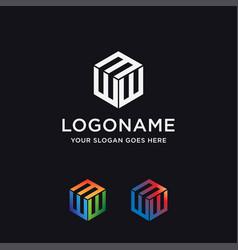 letter w logo e logo icon template vector image