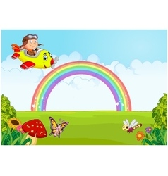 Little Boy Operating a Plane with rainbow vector image