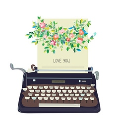 Love you card with typewriter and flower vector