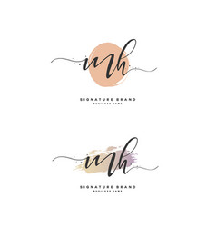 M h mh initial letter handwriting and signature vector