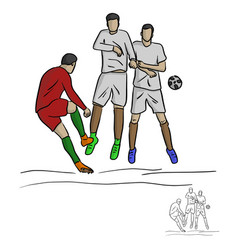 Male soccer player shooting against the wall vector
