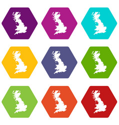 map of great britain icon set color hexahedron vector image