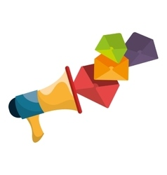 Megaphone with envelopes icon vector