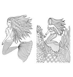 Mermaid set 2 vector