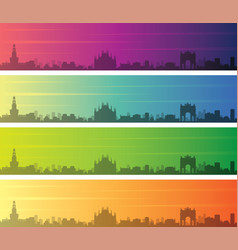 Milan multiple color gradient skyline banner vector