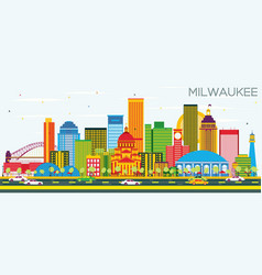 Milwaukee skyline with color buildings and blue vector