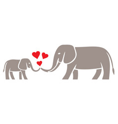 Mom and baby elephant vector