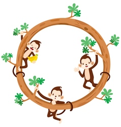 Monkey And Banana On Circle Frame vector