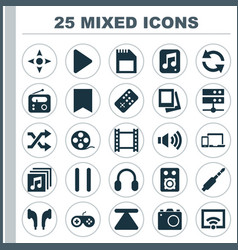 Multimedia icons set collection of signal eject vector