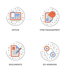 office time management documents co-working set vector image