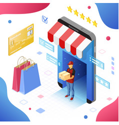 Online internet shopping delivery isometric vector