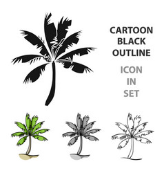 Palm tree icon in cartoon style isolated on white vector