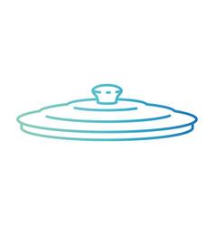 Pan lid degraded blue color contour vector