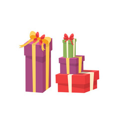 pile wrapped packages shopping packs vector image