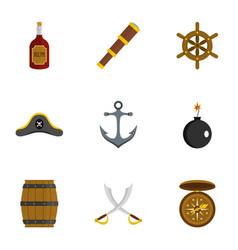 pirates icon set flat style vector image