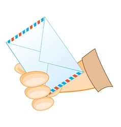 Postal envelope in hand vector