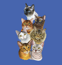 Postcard with cats-3 vector