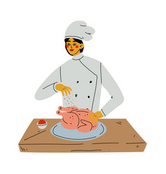 professional female chef cooking chicken vector image