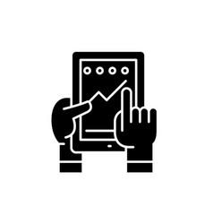 Progress in application black icon vector