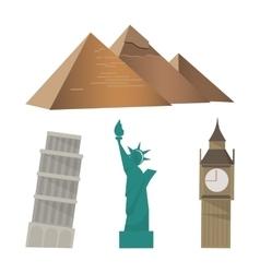Pyramid pisa tower statue liberty big ben vector