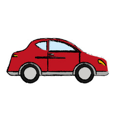 red car sedan transport vector image