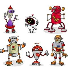 Robots or droids cartoon set vector