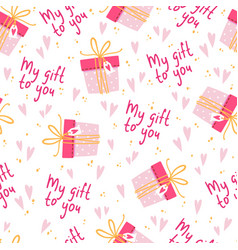 Seamless background for girl with cute gifts vector