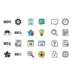 Seo icons search engine optimization symbols vector