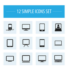 set of 12 editable instrument icons includes vector image