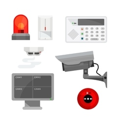 Set of different security system devices vector image