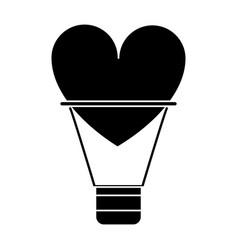 Silhouette airballon heart love romantic classic vector