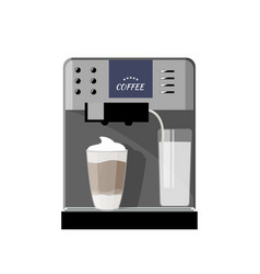Simple grey coffee machine with latte isolated vector