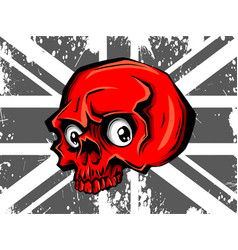 skull and flag red flat icon vector image