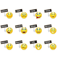 Smiles emotions with plates vector