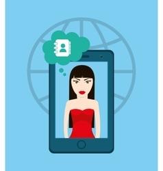 Social media woman cartoon vector