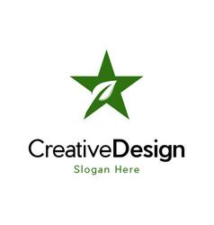 Star leaf raising creative naturally logo vector
