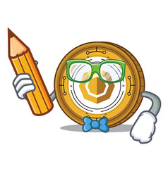 Student komodo coin character cartoon vector