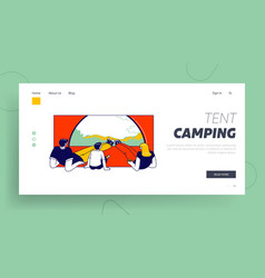 summer recreation landing page template family vector image