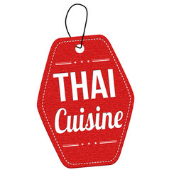 thai cuisine label or price tag vector image