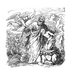 vintage drawing biblical abraham is going to vector image