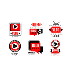 vlog original logo design collection video blog vector image