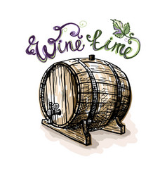 Watercolor grape leaves and wine barrel vector