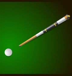 white ball and wooden cue for billiards vector image