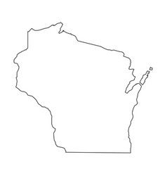 Wisconsin state of usa - solid black outline map vector