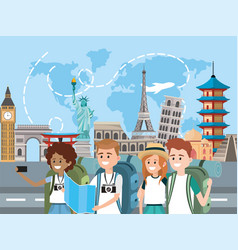 Women and men with map to travel around the world vector