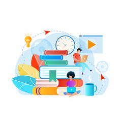 Young people sitting on books engaging knowledge vector